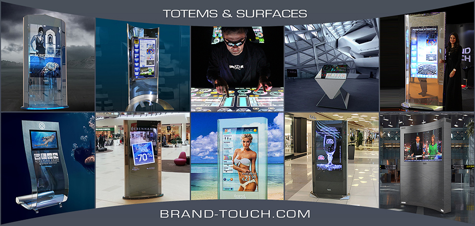 brand touch totems and touch surfaces