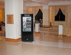 Hotel lobby digital signage totem Westin