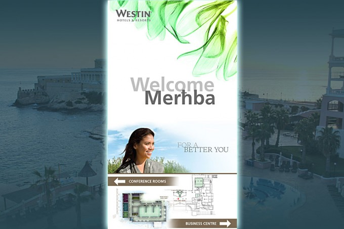Hybrid hotel digital signage network for Westin