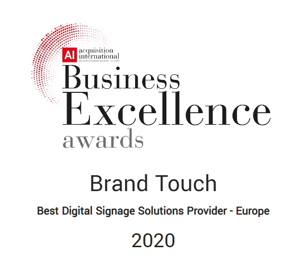 BrandTouch Excellence Best Digital Signage Provider Europe Award 2020